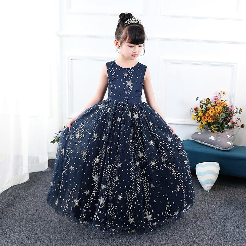 Princess Dress Stars Printed Floor Length Kids Pageant Dress for Birthday Party Sleeveless Flower Girl Dresses for Wedding B155