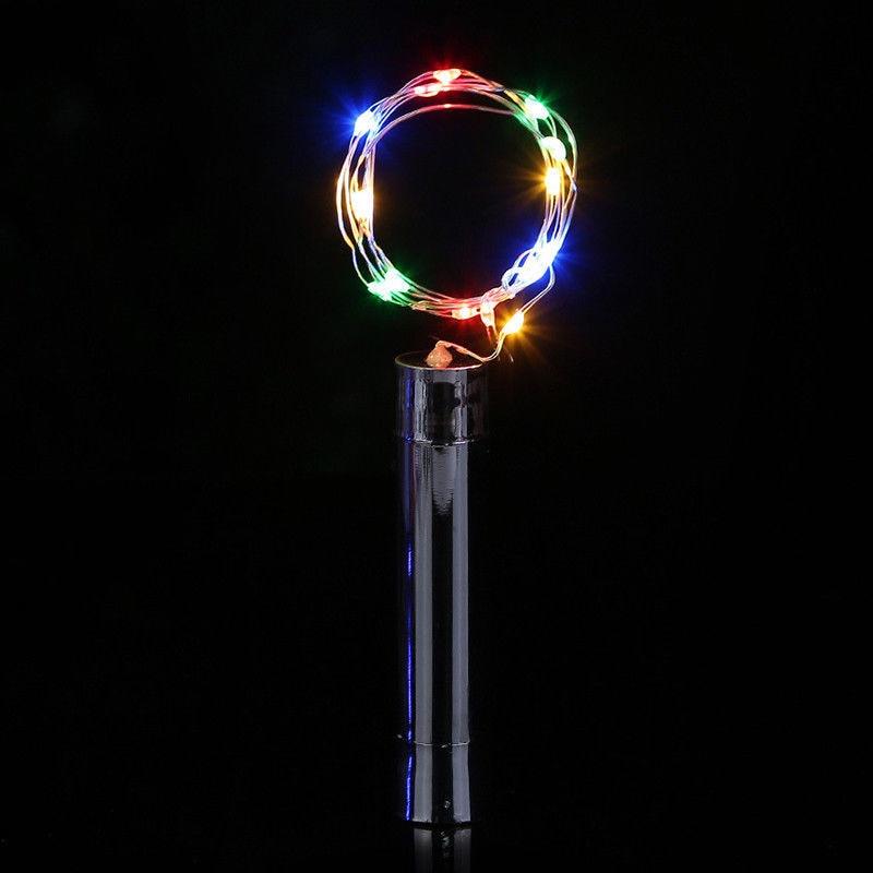 Гирлянды серебряные светодиодный светильники в форме винных бутылок Питание от батареи в форме пробки стеклянная бутылка Пробка Лампа Рождественская гирлянда для украшения - Испускаемый цвет: changeable