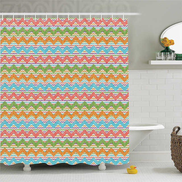 Chevron Decor Shower Curtain Set Vintage Inspired Popular Zigzag Motif Woven Effect Image Bohemian Style