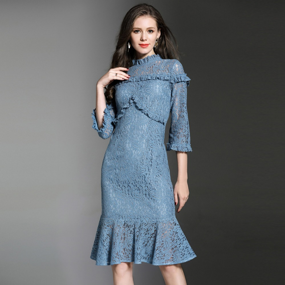 2018 Spring Aummer women elegant ruffled collar trumpet lace dress ...