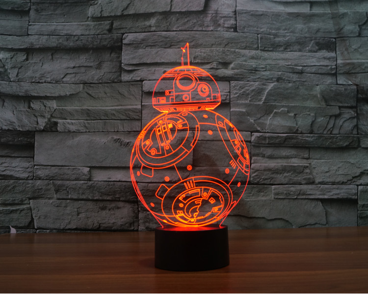 BB8 Star Wars 7 color changing visual illusion LED lamp Darth Vader Millennium Falcon toy 3D light lightsaber action figure