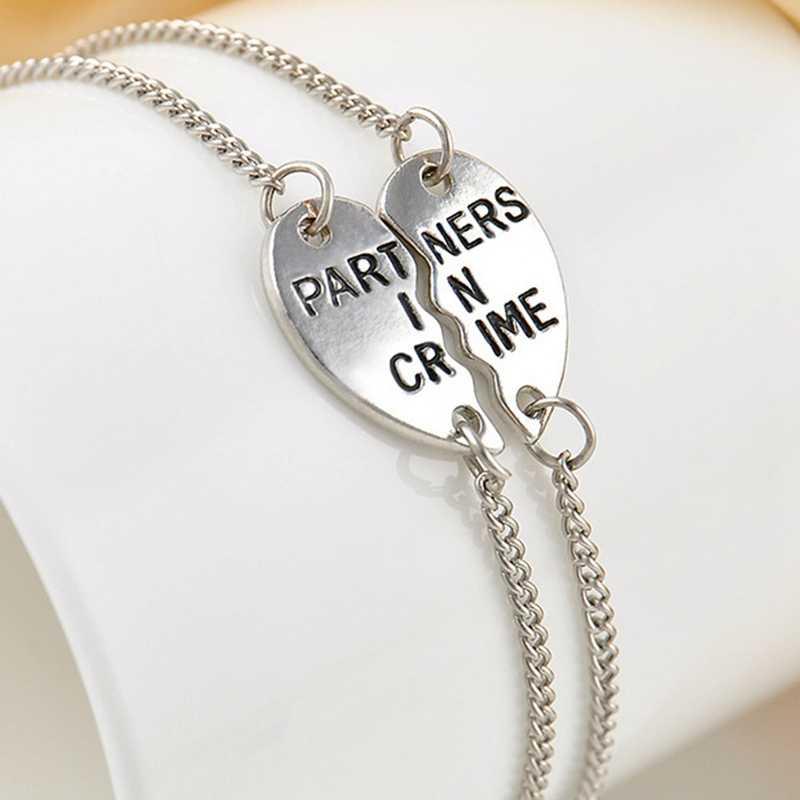 1 ペアファッション人格ジュエリー良い友人カップル形ステッチ Barcelet チャーミングジュエリー