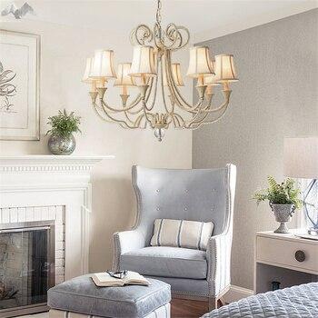 Lfhアメリカのヴィンテージ結晶銅シャンデリアベッドルームキッチンリビングルームファブリックランプシェード天井ホーム照明器具ランプ