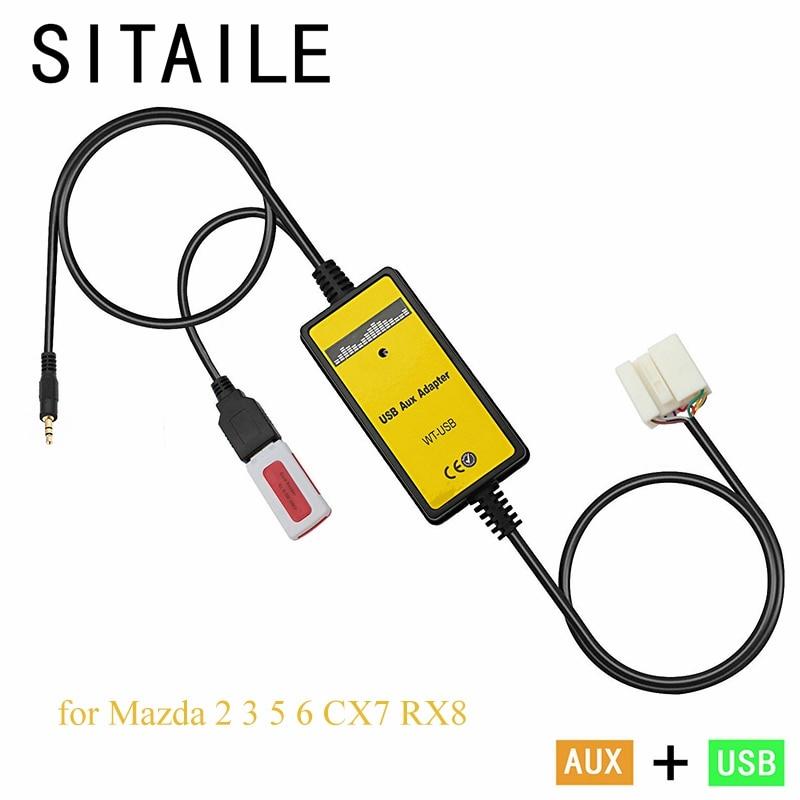 imágenes para Adaptador de coche USB AUX MP3 música reproductor de CD máquina de cambio para Mazda 2 3 5 6 MX-5 RX-8 MPV Interfaz car styling kit