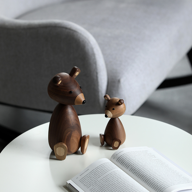 Russia Little bear wood ornaments for decor squirrel for furniture wood crafts shipping small gifts wood bear toy ornament home 4