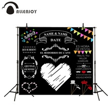 ФОТО allenjoy custom blackboard wedding background idea chalk big heart party background photo booth diy photocall excluding bracket