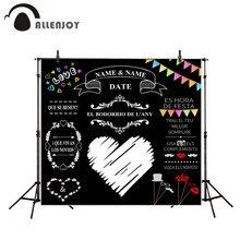 Allenjoy مخصص السبورة الزفاف خلفية فكرة الطباشير كبير القلب حفلة خلفية كابينة تصوير لتقوم بها بنفسك صور دعوة باستثناء قوس