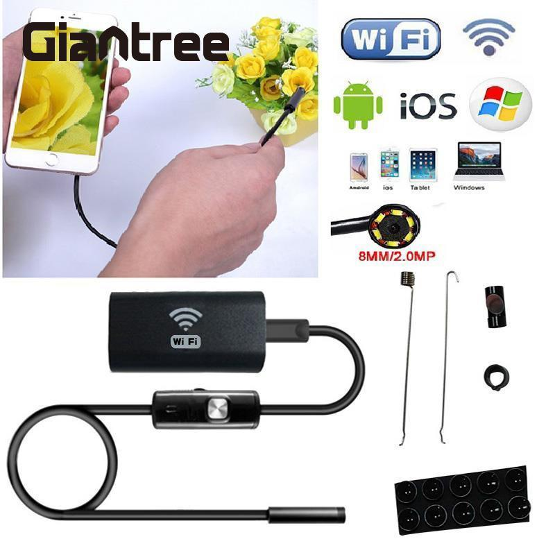Giantree 2m 8mm WIFI Endoscope Snake Pipe Inspection Waterproof Borescope Snake Camera for IOS Android OTG USB Endoscope Camera 2017 new 8led 7m hard flexible snake usb wifi android ios iphone endoscope camera iphone borecope pipe inspection hd720p camera