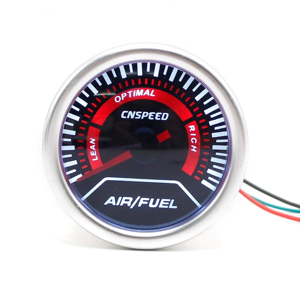 CNSPEED 52mm 12V Car Auto Air Fuel Ratio Gauge Smoke Lens Wh