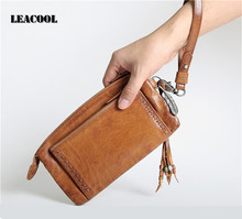 Leacool Vintage Long Men Wallets Luxury Brand Female Portfolio Women's Purse Coin Money Bag tassel Clutch Purses envelope Wallet