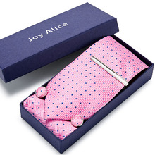Gift box Packing  Pink Plaid Tie Luxury 100%Silk Ties for Men 145cm long High Quality Mens Cravata 8cm Wide Male Neck