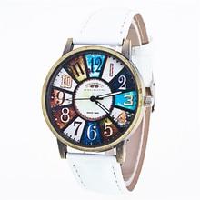 Newest classical Cheap amazing hot wonderful Fashion Harajuku Graffiti Pattern Leather B Analog Quartz Vogue Wrist Watch P*21