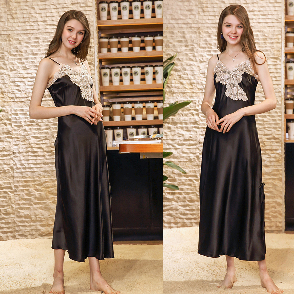 Perfering   Nightgown   Women Sleepwear   Sleepshirts   Long Dress Sexy Lingerie Lace Babydoll High Quality Satin Lace Long Gown Women