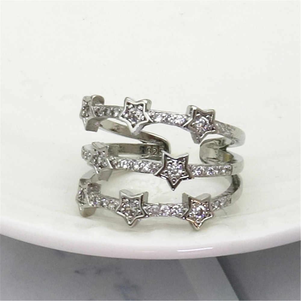 Susenstone แหวนใหม่ยี่ห้อแฟชั่นปรับ White Star แหวนเงินสวย Lady Crystal แหวน Anillo de dama Charm แฟชั่น @ 1