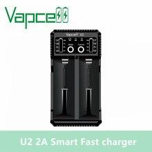 Original Vapcell U2 2A Inteligente mini USB carregador para Li ion/Lifepo4/Ni MH/Ni Cd AAA AAAA carregador de bateria C D 2A carregamento rápido