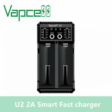 Original Vapcell U2 2A Smart mini charger USB for Li ion / Lifepo4 / Ni MH/Ni Cd AAA AAAA C D battery charger 2A fast charging