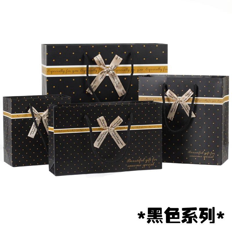 100 Pack cadeau d'affaires sac en papier noir avec poignée pour vêtements chaussures bonbons chocolat