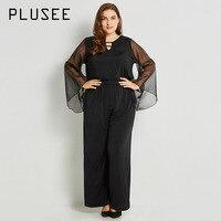 Plusee Jumpsuit Plus Size 4XL 5XL Women 2017 Solid Black Slim Mesh Office Hollow Backless Plain Jumpsuit Plus Size Bodysuits