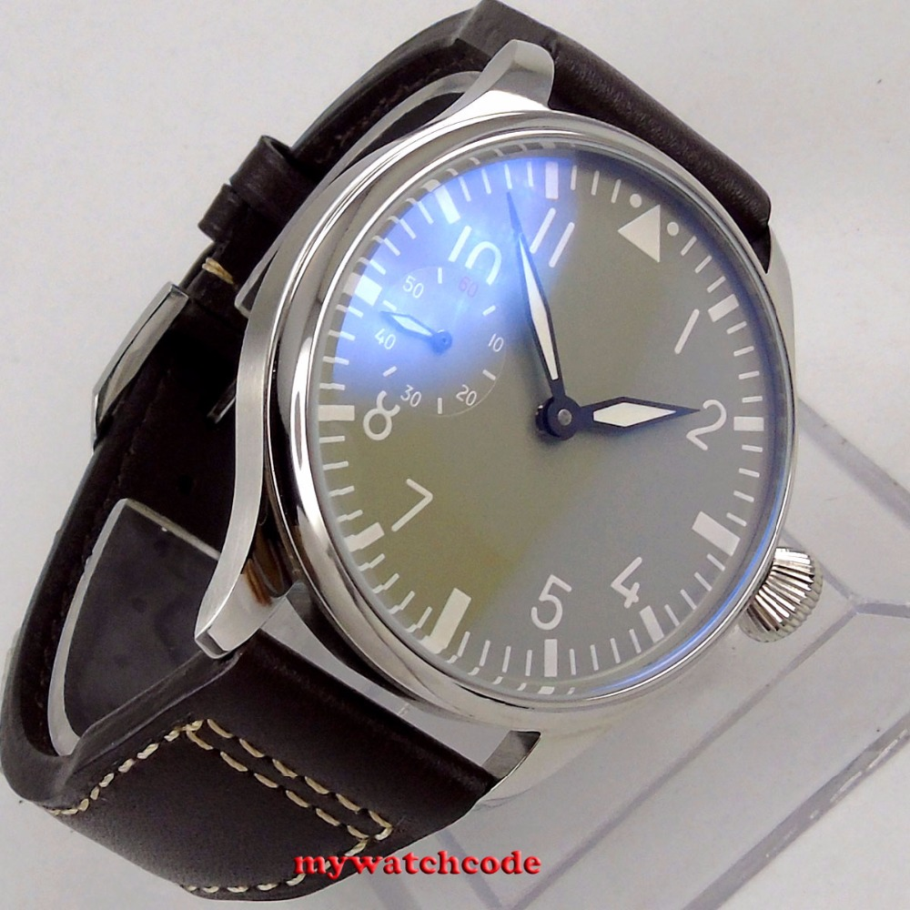 44mm PARNIS gray dial luminous hand winding 6497 mechanical mens watch 44mm black sterile dial green marks relojes 6497 mens mechanical hand winding watch luminous armbanduhr cm164bk
