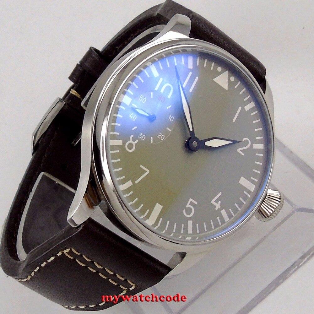 44mm parnis 그레이 다이얼 빛나는 손 권선 6497 기계식 시계-에서기계식 시계부터 시계 의  그룹 1