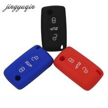 Jingyuqin силиконовые пульт брелок чехол для Peugeot 107 207 307 407 308 607 Citroen C1 C2 C3 C4 C5 c6 C8 3 кнопки стайлинга автомобилей