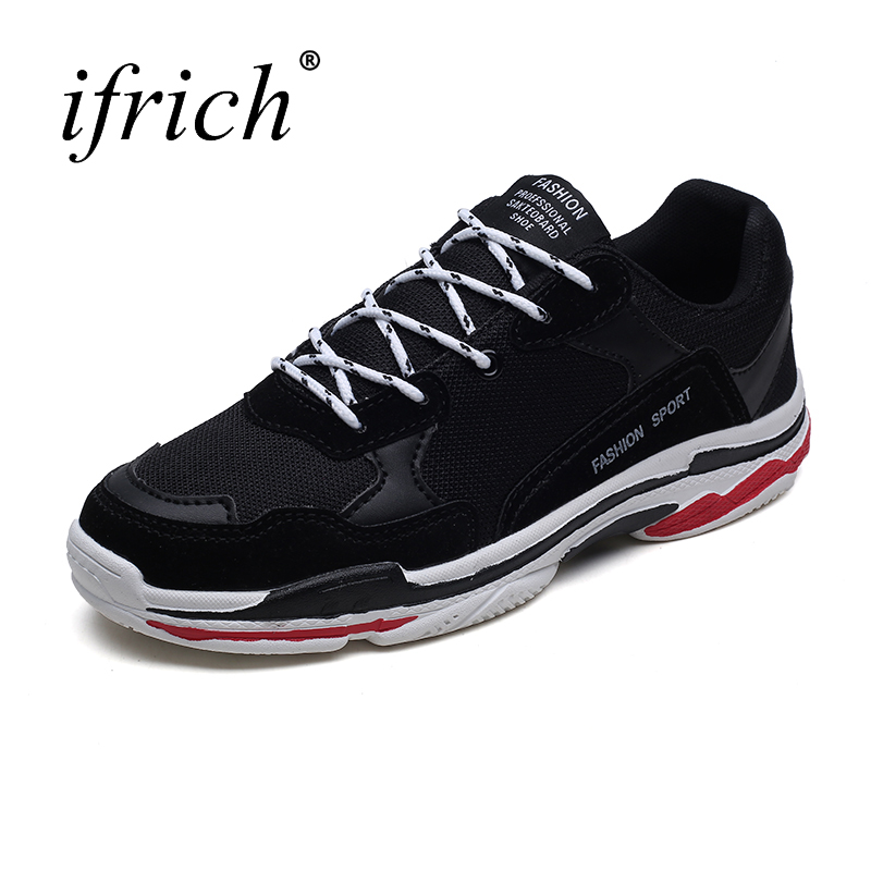 New Running Shoes for Men Training Sneakers Black Red Sport Trainers Comfortable Walking Jogging Trainers Lace Up Jogging Shoes