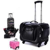Siyah timsah Haddeleme Bagaj 18 inç Çok Fonksiyonlu PU deri bavul Tekerlekler Kadın Kozmetik Durumda Arabası Seyahat Çantaları