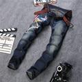 Phoenix Embroidered Jeans Mens Light Wash Biker Jeans Homme Slim Fit Straight Denim Pants Famous Brand Designer Jeans Men P12
