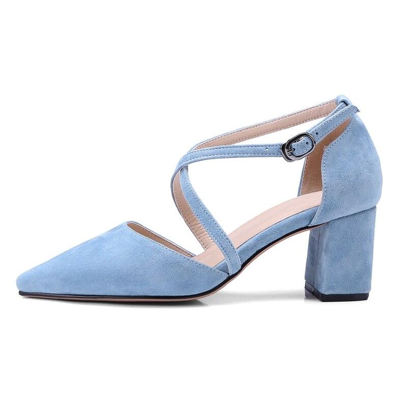 Cr237 Une Nouveau Petite Chaussures Pour Croix Tête Talons Apricot Haute blue Printemps Femmes orange Solide black Enmayer À chaussures Pointu Croisé De Pompes Avec w7XPqqAxH