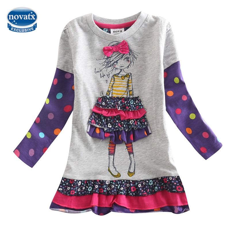 novatx H3660 Casual Dress Girls long sleeve hot selling children clothes nova kids wear autumn spring girls clothing frocks girl