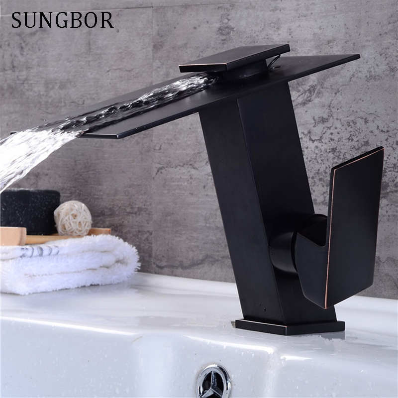 Waterfall Bathroom Basin Faucets Brass Mixer Tap Cold and Hot Basin Sink Mixer Waterfall Tap Black Water Sink Faucet Tap AL-7805