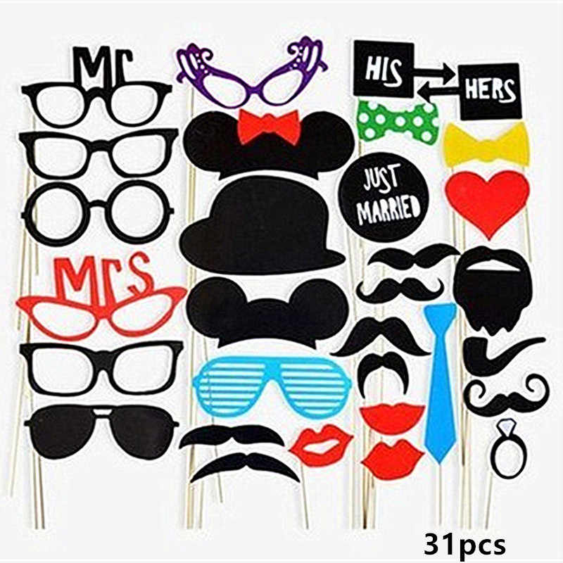 Hen Party Photo Booth Props DIY Bride shower Mr Mrs Wedding Photo Props Bachelorette Party Decor Funny Glasses Mustache Prop