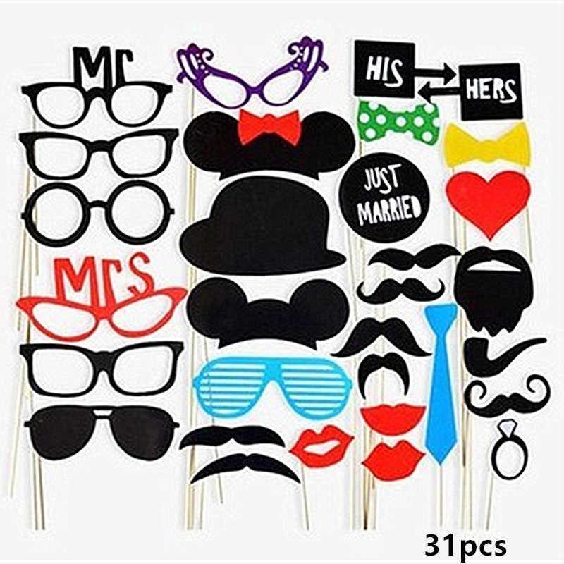 Hen Party Photo Booth Props DIY Bride shower Mr Mrs Wedding Photo Props Bachelorette Party Decor Funny Glasses Mustache Prop