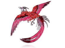 Горячая Neon Pink Эмаль Окрашенные Рубин Кристалл Горный Хрусталь Gem Феникс Птица Броши Булавки