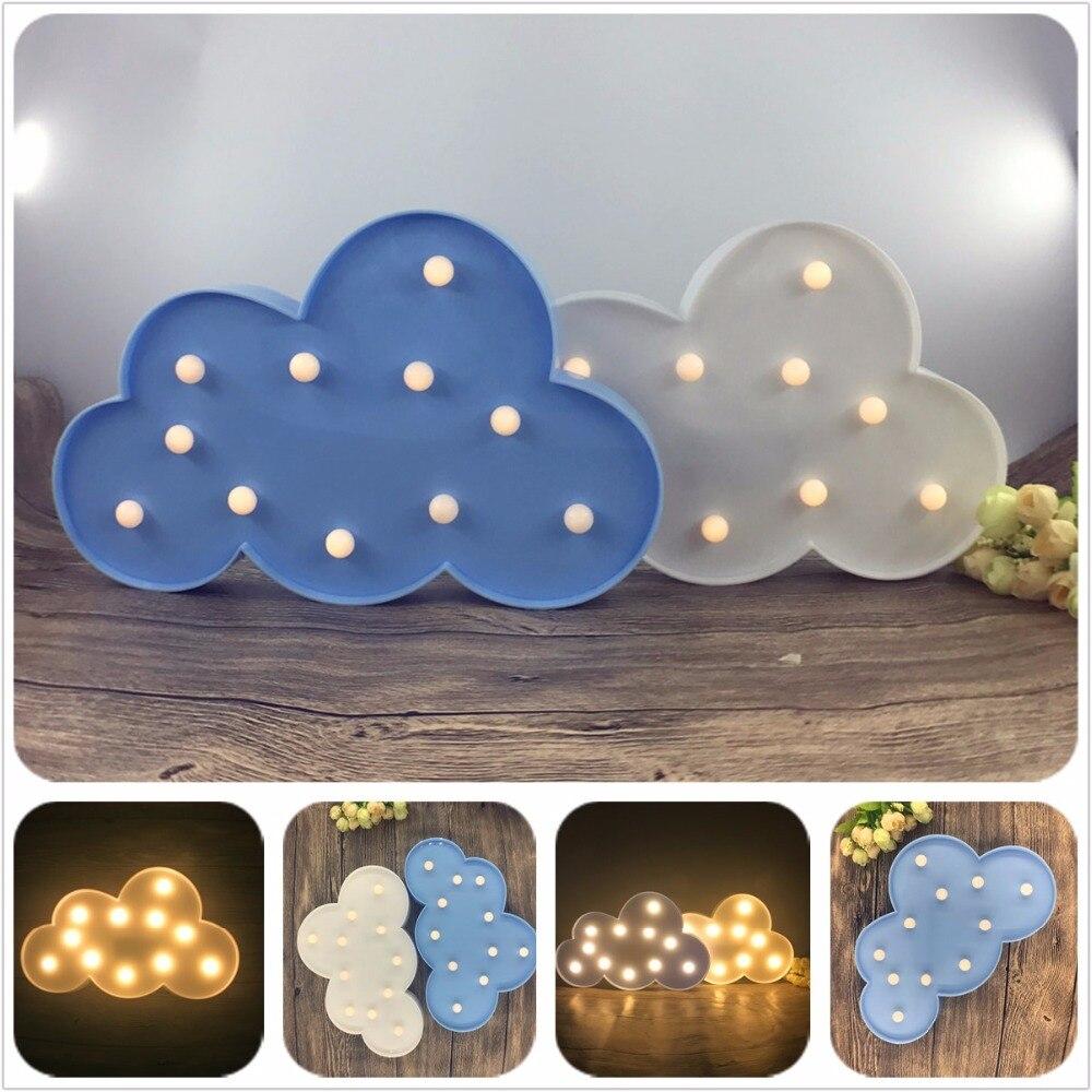 Yenilik 11 LED Beyaz Mavi Bulut Mektup 3D Marquee Gece Lambası Noel - Gece Lambası - Fotoğraf 2