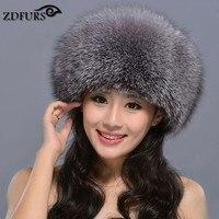 ZDFURS * Hot Sale Russian Fox Fur princess hat Real Fox Fur Hat Women Winter Warm Cap Leather Headdress Mongolia cap ZDH 161010