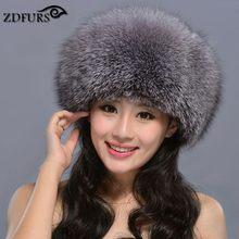 ZDFURS * sıcak satış rus tilki kürk prenses şapka gerçek tilki kürk şapka kadın kış sıcak kap deri Headdress moğolistan kap ZDH-161010