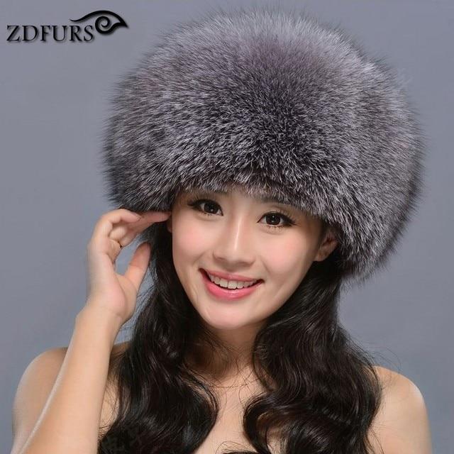 d185001179a ZDFURS   Hot Sale Russian Fox Fur princess hat Real Fox Fur Hat Women  Winter Warm