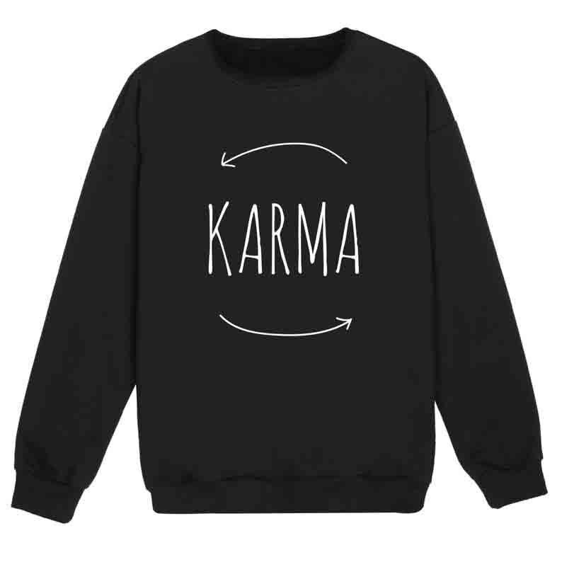 Sugarbaby New Arrival Karma Sweatshirt Tumblr Hipster Swag Grunge Kale Goth Punk Jumper Long Sleeved Fashion Sweatshirt
