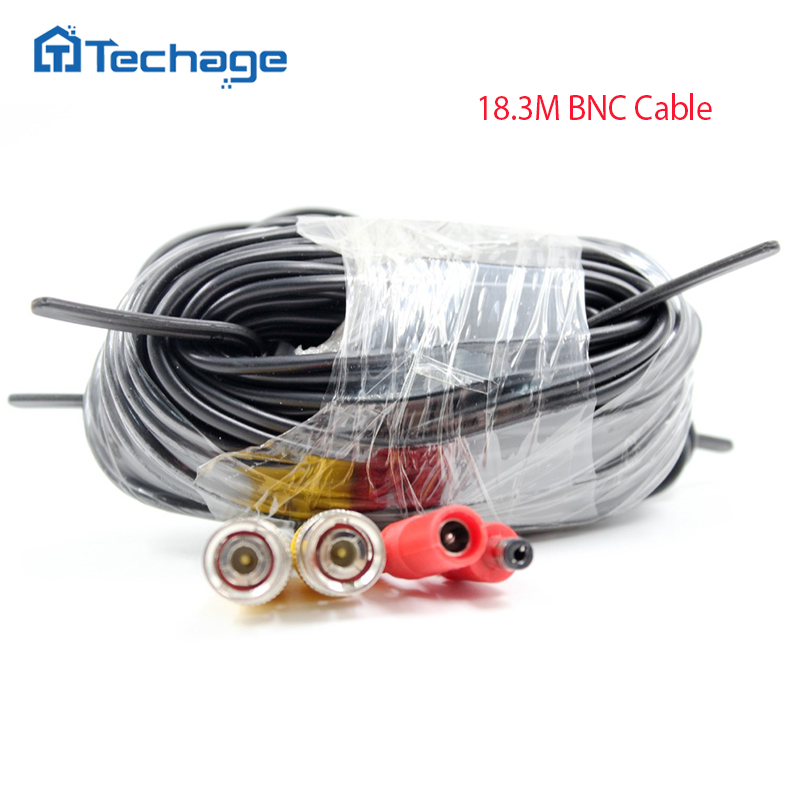 Techage BNC Video Power Cable 65ft 18M for Analog CCTV AHD Camera DVR Kit Security Surveillance Accessories System Waterproof