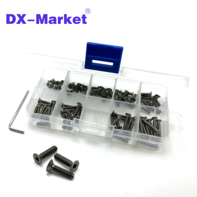 m3 Titanium screw kit , 9 size 90pcs , m3 hex socket flat head screw , DIN7991 Titanium bolt , super light screws 5mm-20mm пилочка для ногтей leslie store 10 4sides 10pcs lot