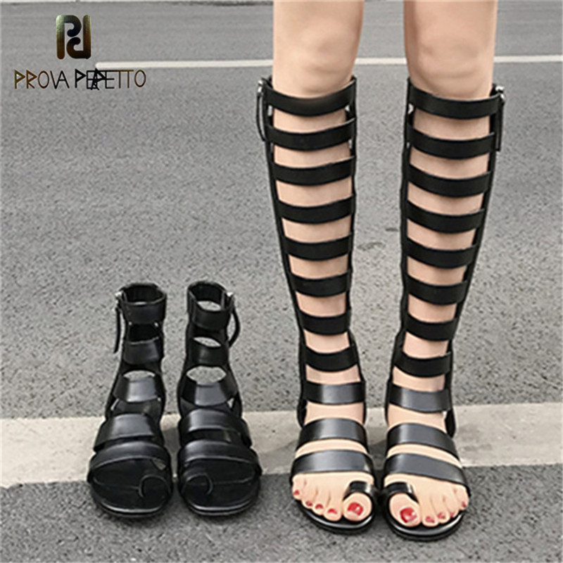 Prova Perfetto New Punk Style Sandals Woman Narrow Band Flip Flop Gladiator Sandals Women Real Leather