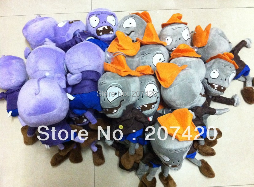 free shipping children gift plant vs zombies plush purple zomnbies,hat zombies mixed set,2pcs/set.pack newest 30cm pvz plant vs zombies plush toys knight zombie plush toy dolls for kids gift