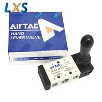 5 Way Airtac Manual Control Valve AC220V Port 1/4 BSP Pneumatic Air Hand Lever Operated Valve 4H210 08