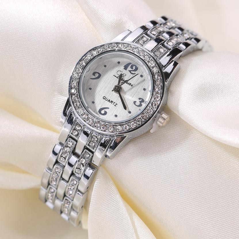 Relojes de lujo LVPAI, relojes de pulsera de acero inoxidable con diamantes para mujer, relojes de pulsera de cuarzo con diseño de marca, reloj femenino # YL5