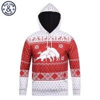 Mr BaoLong Brand New Fashion Youth Hooded Hoodies Men Christmas Reindeer Snowflakes 3D Printed Pullover Sweatshirt