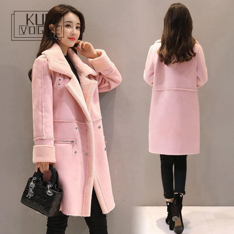 Women suede fur winter jacket 2019 fashion zipper pocket thick artificial sheepskin long coat coat women 39 s warm windbreaker in Parkas from Women 39 s Clothing