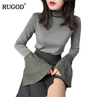 RUGOD 2018 New Arrival Spring Summer Women Blouse Casual Bodycon Female Blouse Flare Sleeve Girl Blouse