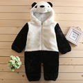 2016 Winter baby boy panda Character Romper Jumpsuit thickened infant hooded panda clothes 12M 24M 3T 4T kids clothes boys