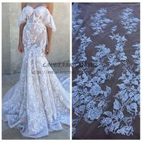 La Belleza 2017 fashion styld Off whtie wedding dress lace fabric 51'' width